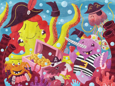 Deep Sea Pirates childrens books picture books childrens illustration illustration