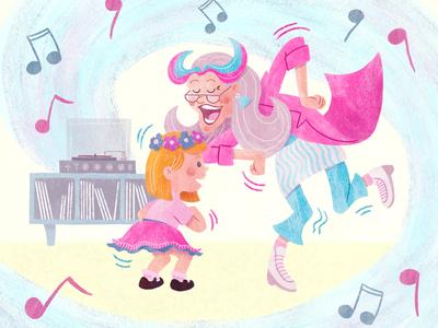 Do the Funky Chicken! children grandparents friendship illustration digital art childrens illustration