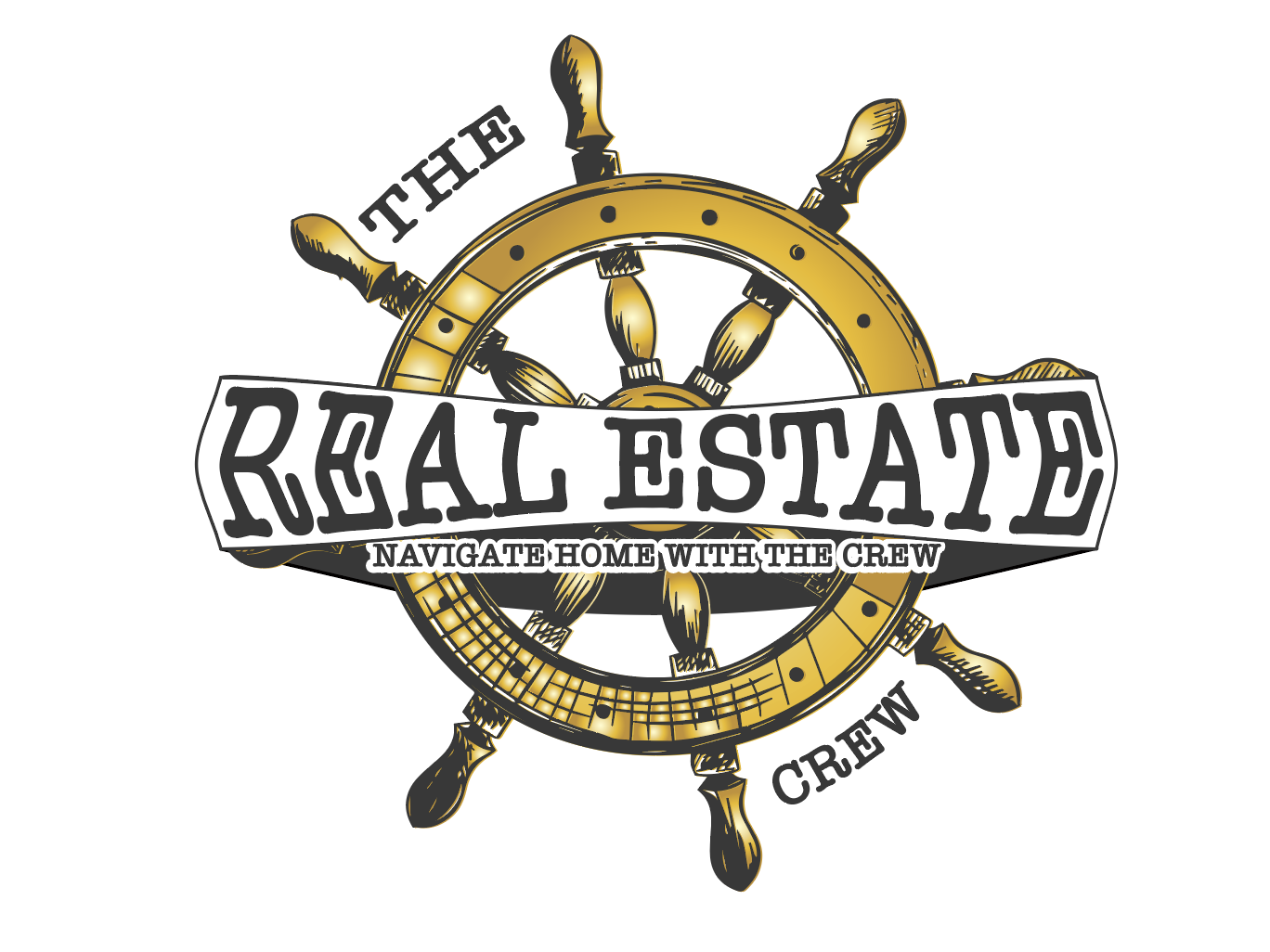 Real estate Crew logo concept luxury gold real estate logo design navy ship wheel ship vintage old classic branding design logo illustration creative vector