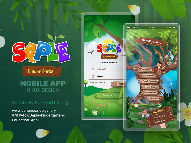 Saple Kindergarten Education School App saple school education app ui design
