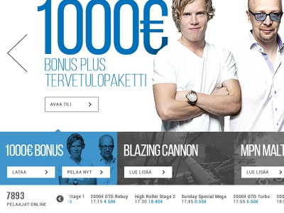 Poker site concept poker web white blue