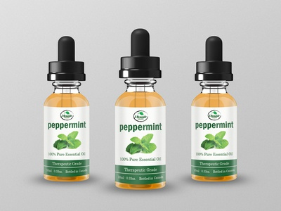 Peppermint Essential Oil Label Design