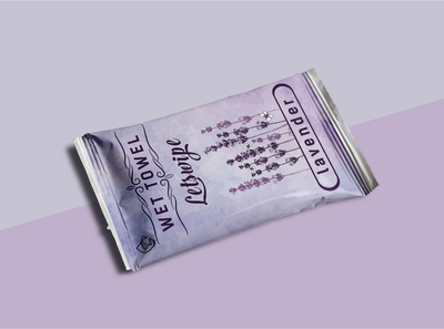 Lavender Wet Towel Label Design.