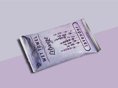 Lavender Wet Towel Label Design. boxdesign label design minimal wet lavender beauty product label packaging branding packaging design package design labeldesign