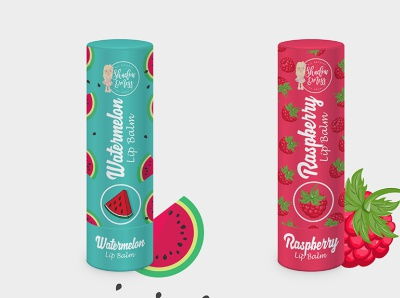 Watermelon and Raspberry Lip Blam Label Design.