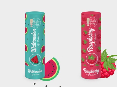 Watermelon and Raspberry Lip Blam Label Design. branding package design label design product packaging design label packaging packaging design packaging lip balm lip raspberry watermelon