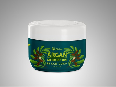 Argan Moroccan Black Soap Product Label Design