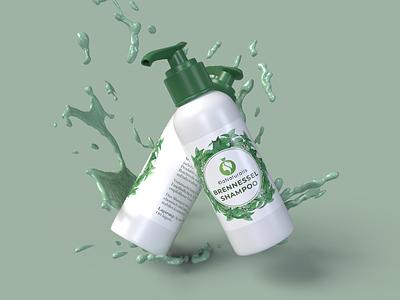 Brennessel Shampoo Product Label Design. branding design logo logodesign inspiration vector beauty product label dribbble design branding labeldesign packaging design package design
