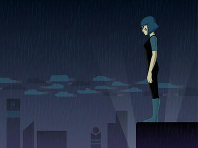 Girl in the rain (futuristic concept)