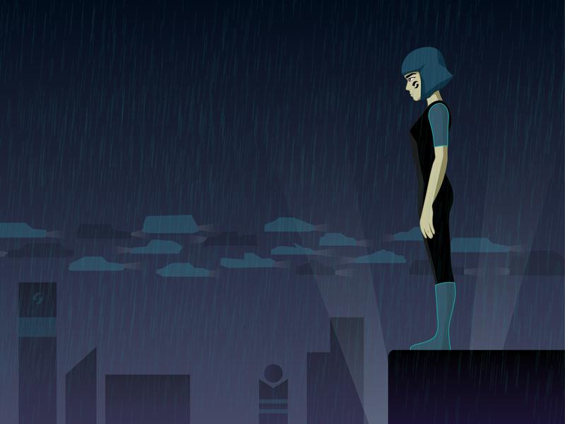 Girl in the rain (futuristic concept) vector art cartoon art adobe ilustrator illustration vector fantasy skyscrapers roof city futuristic future rainy rain girl