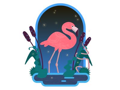 Flamingo in the night