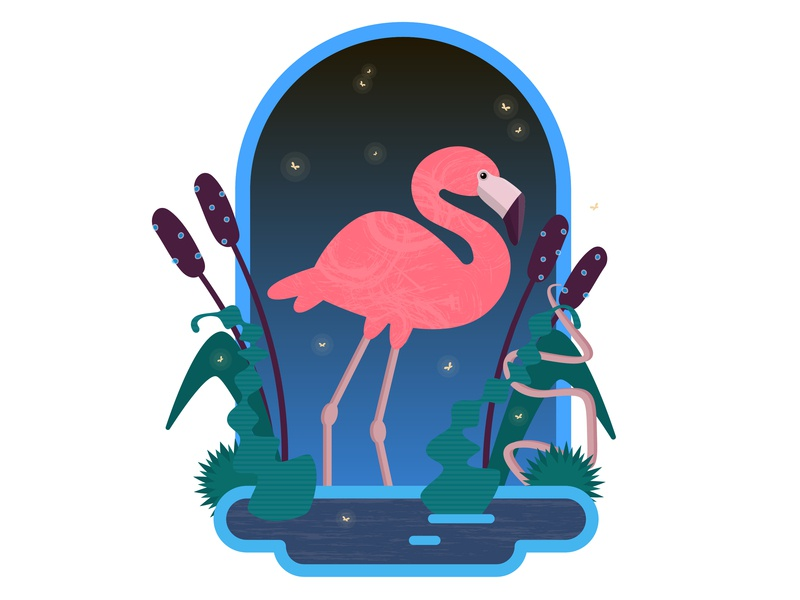 Flamingo in the night night flat vector art cartoon art adobe ilustrator vector illustration bird illustration bird pink flamingo