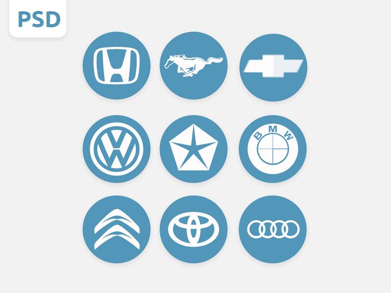 Car Logos PSD car cars auto logo logos psd free icons round circle white blue