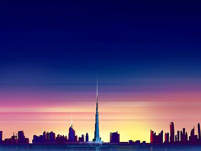 Burj Khalifa skyline sunset evening digital illustration painting khalifa burj uae dubai