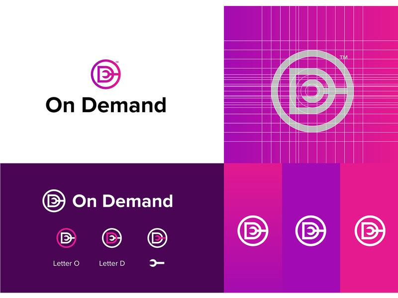 On Demand Logo Concept iconography symbol illustrator icon flat typography identity brand minimal logo design graphic design branding