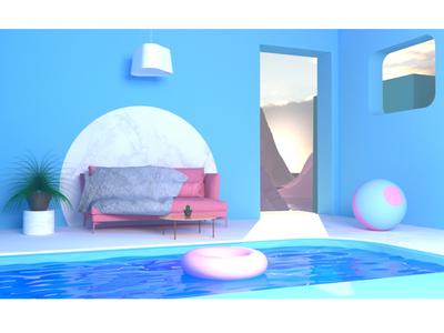 Summer Quarantine Architecture 3d minimalistic design coronarender c4d cinema4d 3d art minimal graphic design