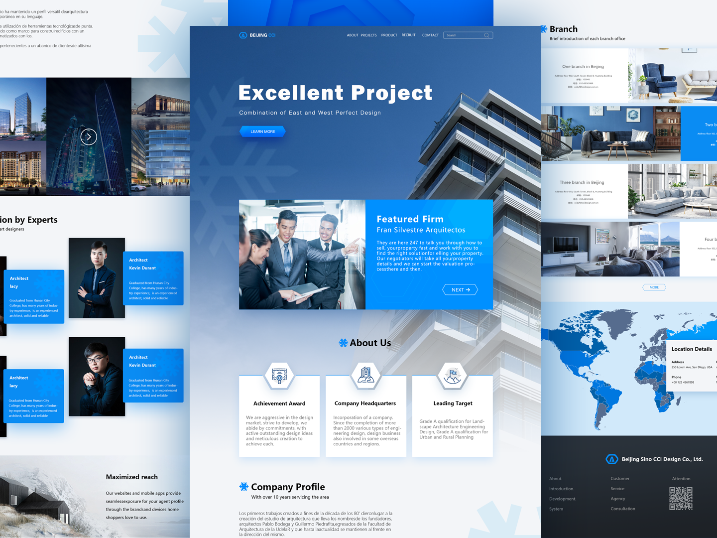 Design of official website of Real Estate Construction construction real estate interface typography page landing branding ux ui web ps