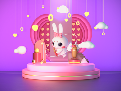 灵灵兔 LILIJO love show rabbit c4d mascot design