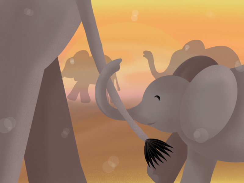Elefantino family happy sunset yellow elefantino elefante savannah trumpet mommy baby animals elephant cute children art animal art procreate illustration dribbble