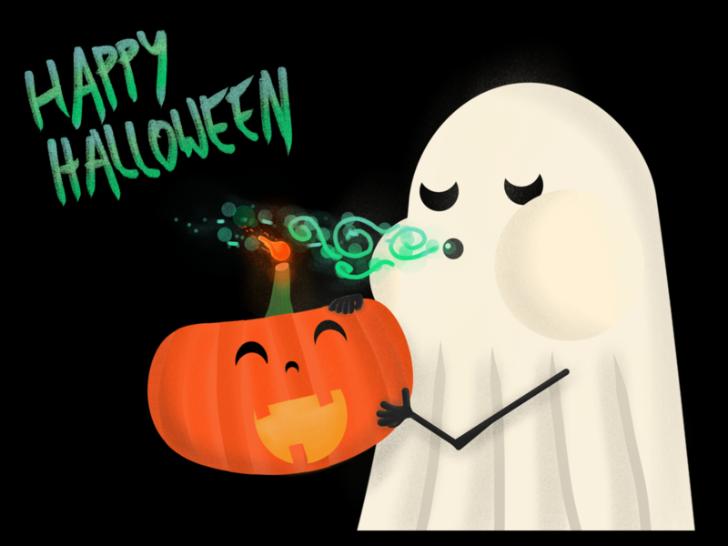 Happy Halloween orange happy pumpkin ghost halloween black  white cute children art procreate illustration dribbble