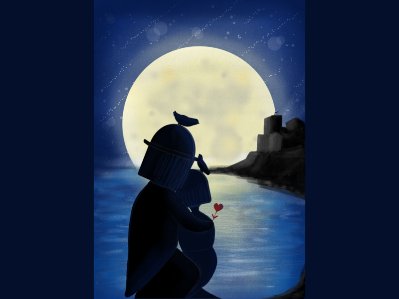 Les Amoureux En Antibes  A Tribute To Peynet peynet tribute cute moon landscape sea antibes love children art procreate illustration dribbble