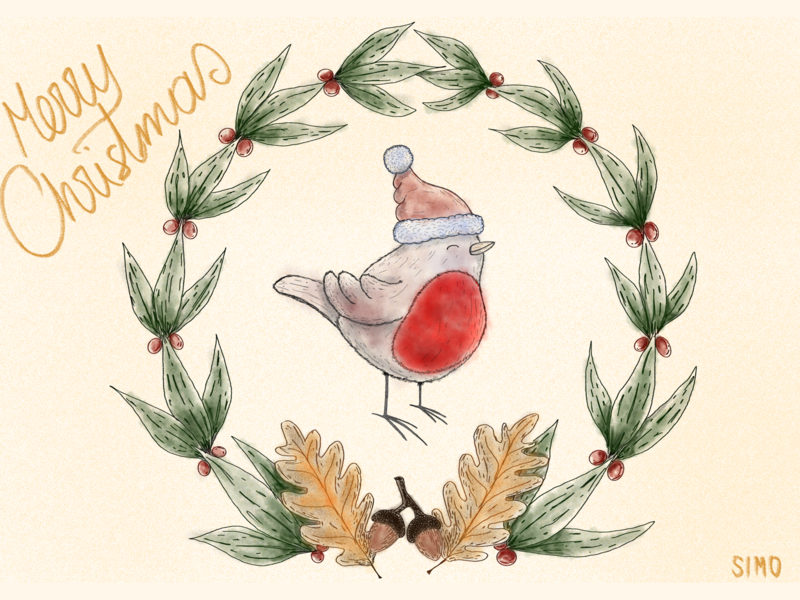 Merry Christmas Robin christmas robin cute animal art children art procreate illustration dribbble