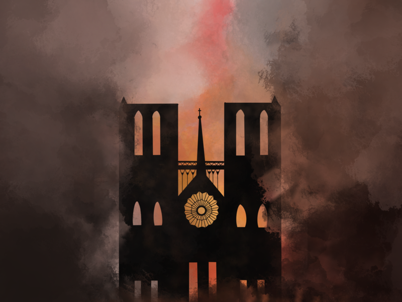 Notre-Dame de Paris burning fire paris dame notre dame notre procreate illustration dribbble