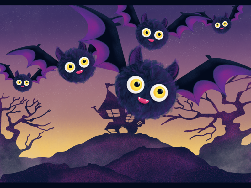 Night Flight dribbbleweeklywarmup spooky horror night happy halloween animal art cute children art procreate dribbble illustration