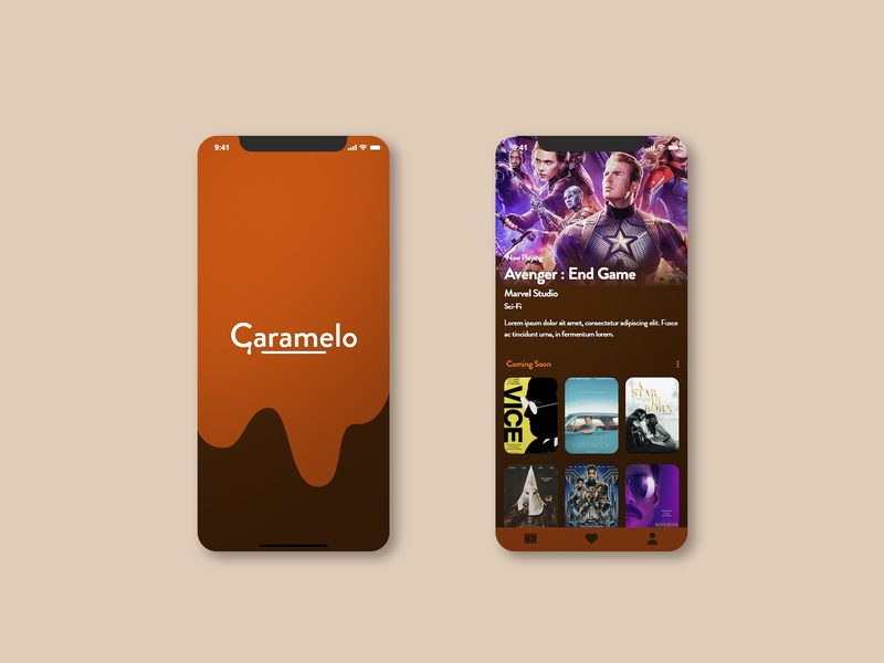 Caramello movie animation web app ux ui