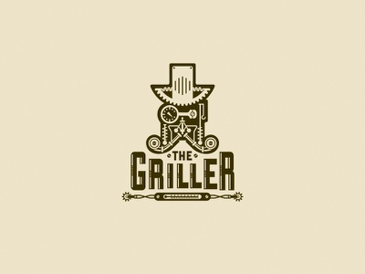 The Griller technical retro design logo branding cafe steampunk food grill burger