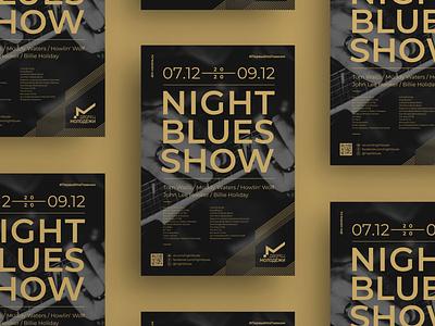 Night Blues Show дворец молодёжи logo branding poster show blues night