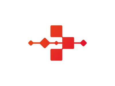 Mobile medical &  obstetric station arrow red cross point logo branding
