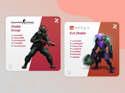 Electronic Sports Team card event contest gaming design illustration graphicdesign ui card team game videogame sport electronic sport