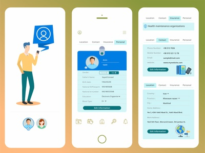 user profile details avatar health branding ui design health app application app design app design illustration uiux ui ux profile user