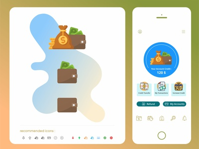 finance - wallet in app with suggested icons finance business money coin icon vector ux drmyco application ui design app design ui design illustration business finance app wallet app finance