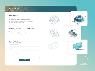 Contact Page design lineart linear effect hover effect hover webdesign contact frontend ux vector ui design ui illustration design
