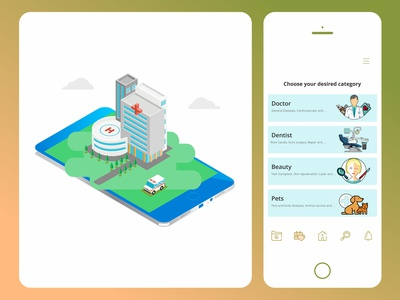 medical expert category in a health app pet beauty doctor health app drmyco ux app design design ui design ui medical app expert hospital isometric ambulance illustration category medical