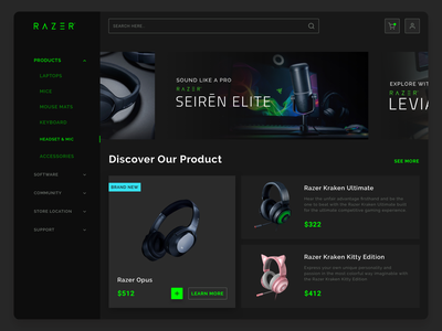 Razer Gear Store clean page user web design web game design green dark user experience ux user interface design user interface ui ecommerce razer headset earphone dashboard