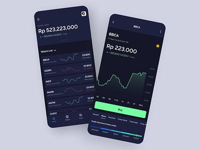 Dark Mode - Stock App app design mobile investment app app home screen stock market green ui design uiux wallet bitcoin mobile apps investment stock dark ux ui