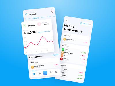 Money Tracker - Mobile App Exploration simple wallet cash bank mobile app mobile app design expense income money app product e-wallet outcome money tracker finance money ui design ux ui