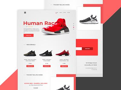 Adidas Homepage (Unofficial) minimalist red humanrace webdesign ux ui adidas
