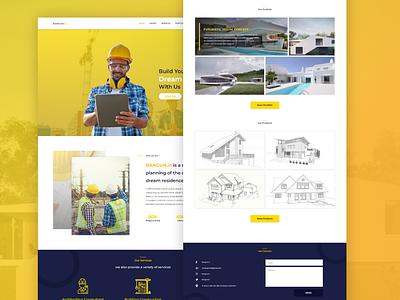 Bangun.in yellow adobe xd contraction architechture indonesia web design ux ui