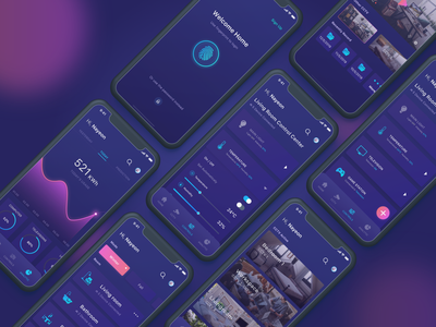 Omah Pinter - Controller For Your Smart Home smart home dark mode mobile apps design ios smarthome mobile apps ux ui