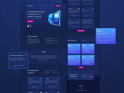 Hacktoberfest Landing Page Exploration ui design event hacker programmer october hacktoberfest hackaton web design landing page dark blue uiux ui website