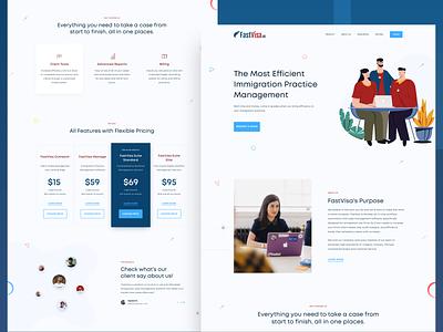Fastvisa - all in one immigration workflow solution illustration ui design management user interface sketch web design ui immigration landingpage homepage