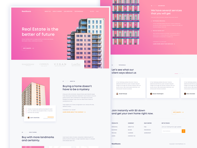 RestRoot - Real Estate Landing Page ux user inteface ui simple rent real estate pink property layout landing page house homepage home gradient family desgin cards clean card buy