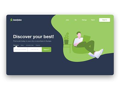 Landing Page flat web app branding illustration ux ui