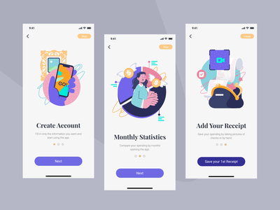 Finance Accounting Mobile App character design ui design money app statistic ios colorful finance app finances mobileapp app uidesign uiux ux ui illustration
