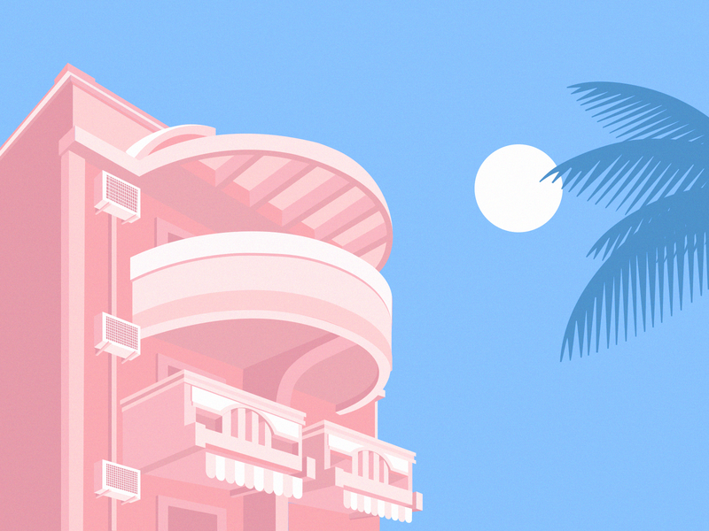 Zenith chill summer palms penthouse arhitecture sun blue pink vaporware type drawing illustration holiday design