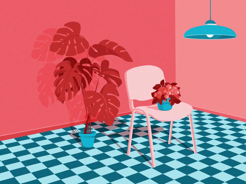 Environment floor enviroment lamp chair plant monstera chill blue design holiday vector drawing illustration